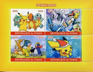 Chad-2018-CTO-Pokemon-Pikachu-Bulbasaur-Squirtle-4v-MS-Cartoons-Animation-Stamps