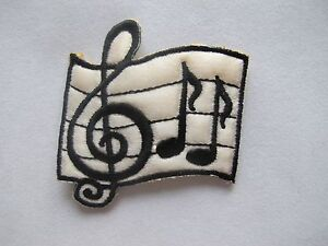 #3516 Black,Golden Musical Notes G Clef Eighth Music Scale Applique Patch