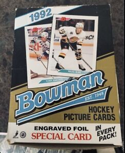 1992 -Bowman- NHL Hockey Cards Box w/36 Sealed Packs - Wayne Gretzky Gold Foil