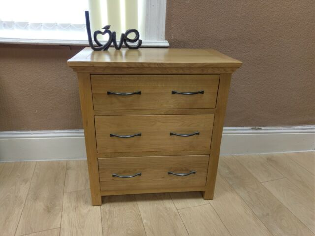 Toronto Solid Oak Small 3 Drawer Chest Of Drawers Compact Bedroom Storage