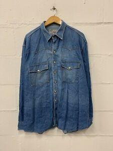 Levi-039-s-Denim-Shirt-Herren-Grosse-XL-extra-blau-Stahl-Knoepfe-Vintage