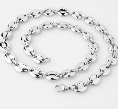 Chaine collier en acier inoxydable maille grain de café  50 cm 7 mm homme femme