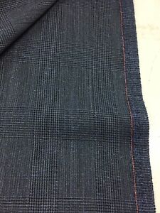 3-5-Metres-Postman-Blue-Checked-75-Wool-25-Silk-Suit-Fabric-By-Dormeuil