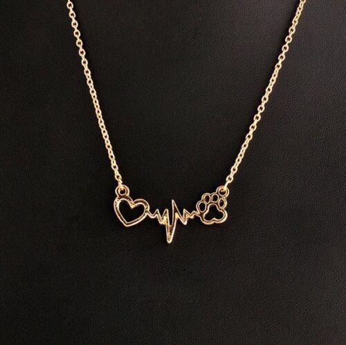 Paw Heartbeat Necklace Chain Pendant Alloy Dog Cat Puppy Kitten ECG Pulse Cute