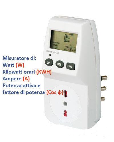 CONTATORE ELETTRICO MISURATORE CONSUMO CORRENTE WATT ENERGIA POTENZA 28268