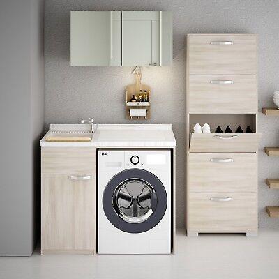 Mobile Lavabo E Lavatrice.Mobile Lavatoio Copri Lavatrice Asse E Lavapanni Ebay