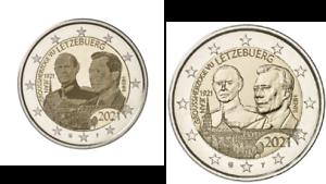 2 x 2 Euros Commémorative Luxembourg 2021 Duc Henri : 2 Versions