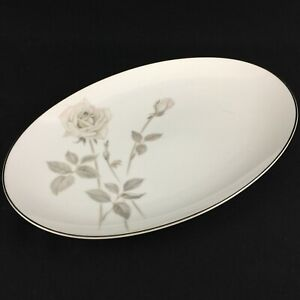 "VTG Oval Serving Platter 14"" by Noritake Melrose Pink Floral Platinum 6002 Japan"