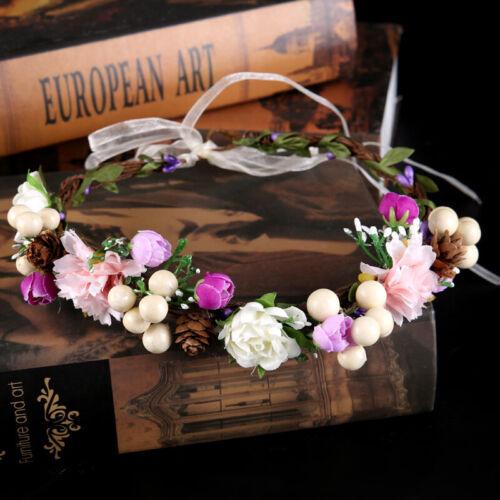 Damen Boho Haarband Blumen Kranz Geflochten Stirnband Party Hochzeit Strand