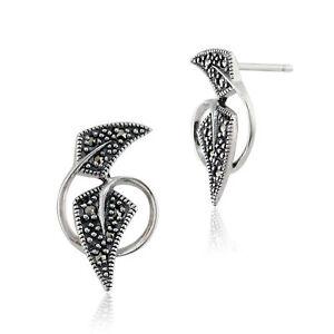 Gemondo-Sterling-Silver-0-17ct-Marcasite-Art-Nouveau-Style-Stud-Earrings