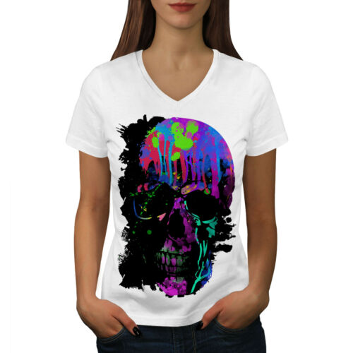 Rock Cranio Dello Zucchero Colorato Donne V-Neck T-shirt Nuovewellcoda