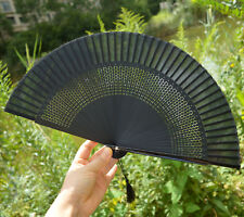 Lady Retro Vintage Hand-Held Black Bamboo Lace Decorative Folding Fan Kimono