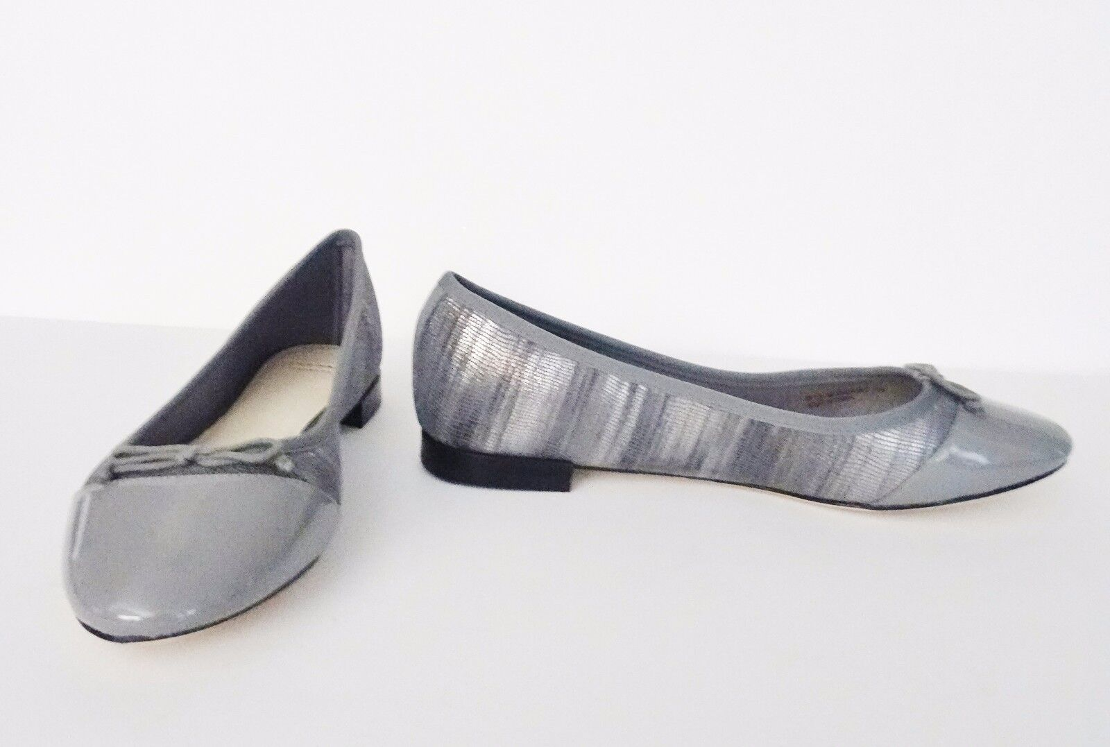 NIb Cole Haan Sarina Snake Embossed Leder Ballet Flat Ironstone Schuhes Sz 8.5 M Ironstone Flat d1463b