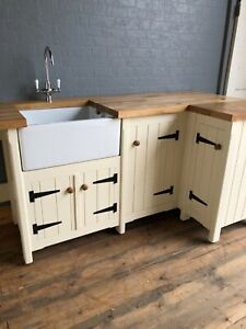Solid Pine Freestanding Country Kitchen Belfast Butler Sink Unit Oak Top Rustic Ebay