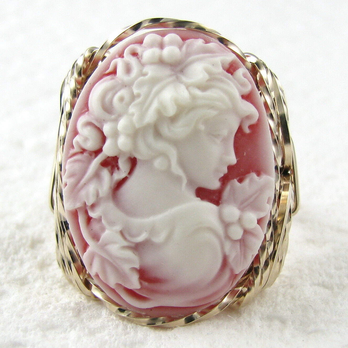 Grecian Goddess Red Cameo Ring 14K Rolled gold Jewelry Resin Size Selectable