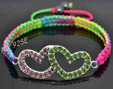 UK NEW SHAMBALLA STYLE MULITY STRING DOUBLE HEART PINK/GREEN BEAD BRACELET