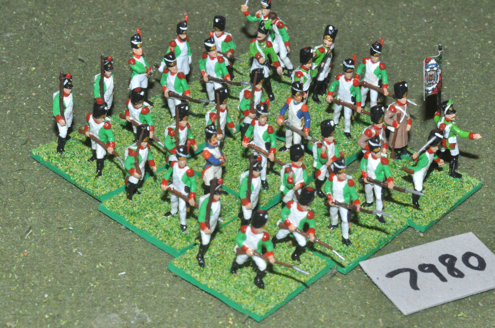 20mm napoleonic   italian - infantry plastic 36 figs painted - inf (7980)