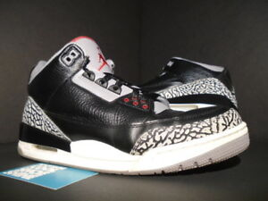 d0ed3da4d8c9a3 NIKE AIR JORDAN III 3 RETRO BLACK FIRE RED CEMENT GREY WHITE 136064 ...