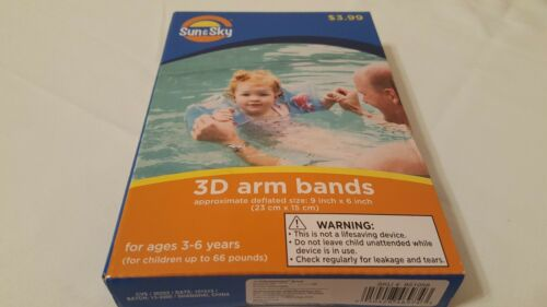 Sun /& Sky 3D Arm Band Inflatable Dolphin Floaties Water Wings Ages 3-6 or 66 LBS