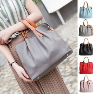 2-Pcs-Set-Convertible-Real-Leather-Single-Shoulder-Bag-Crossbody-Purse-Tote-Bag