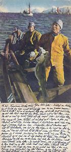 1944-NORWEGIAN-FISHERMEN-GROUP-COLOUR-POSTCARD