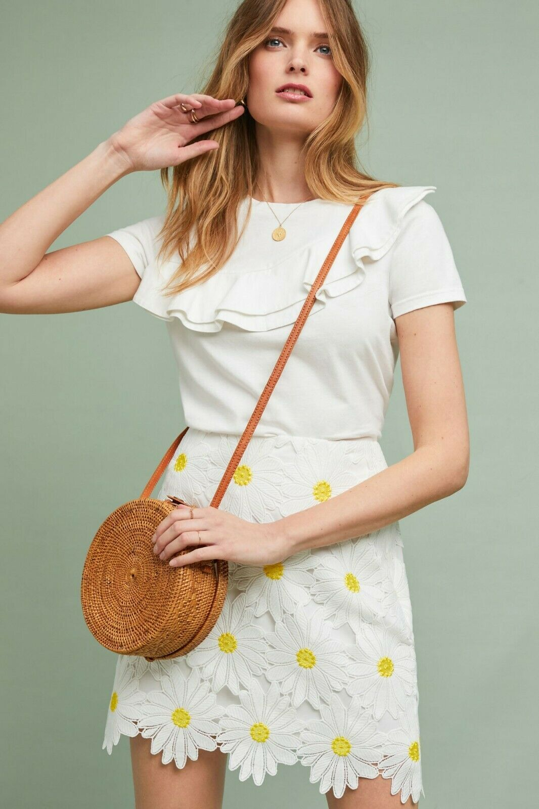 Anthropologie Hutch Daisy Lace Skirt Yellow White Daisies Size 6 NEW