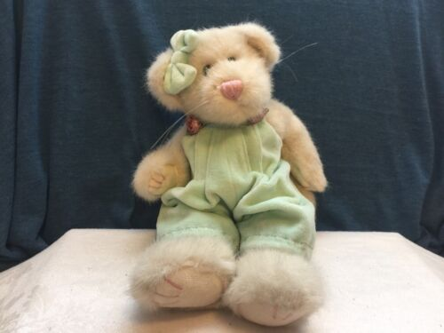 "1999 Boyds Bears 11"" Jointed White Cat Mint green Jumper Pink Roses"