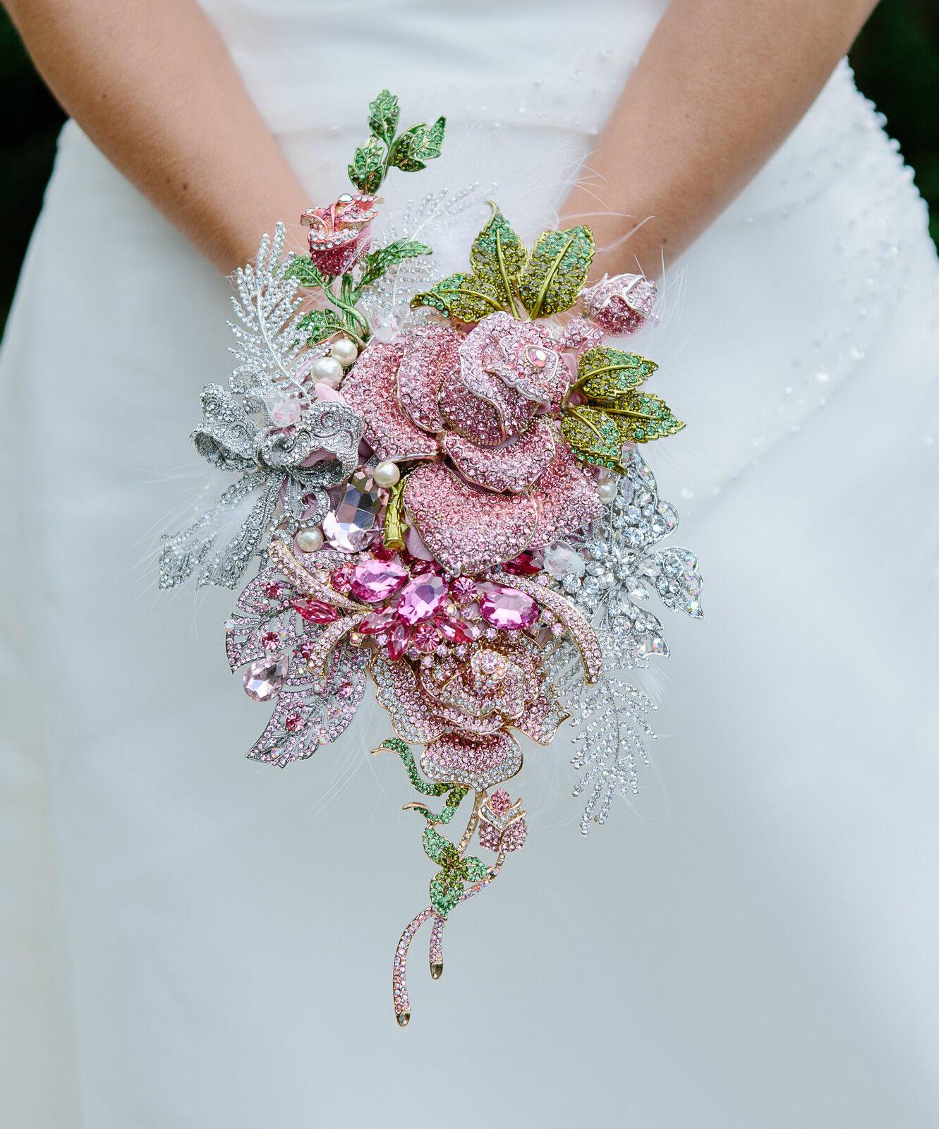 Broche Bouquet De Mariage Or Rose Argent Roses brides unique feuilles Papillon UK