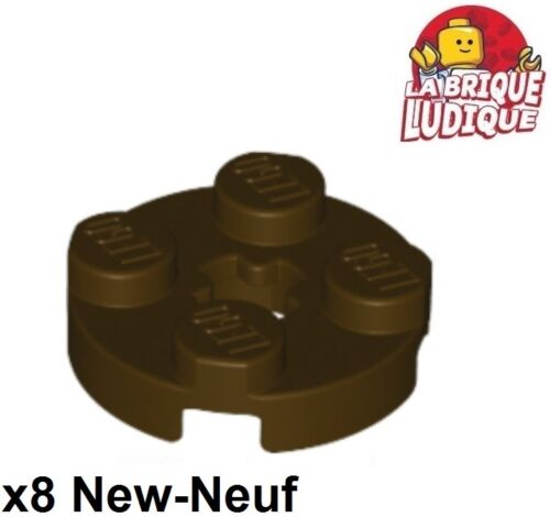 Lego 8x Plate Round plaque ronde axle hole 2x2 marron fon//dark brown 4032 NEUF