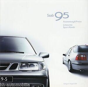 Saab 95 Limousine Sport-kombi Preisliste 2001 1.8.01 Price List Prislista Auto Durchsichtig In Sicht Kataloge & Prospekte