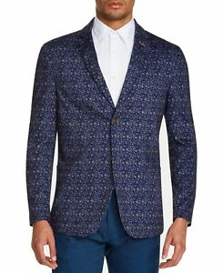 Tallia Mens Blazer Blue Size Medium M Floral Printed Two-Button $198 #047