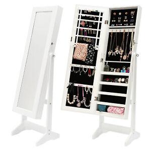 Mirror-Jewellery-Cabinet-Storage-Organiser-Box-Makeup-Wooden-Full-Length-WHITE