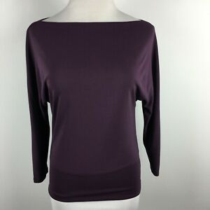 The Limited S Small Knit Top Purple 3/4 Sleeve Banded Hem Boat Neck Stretch