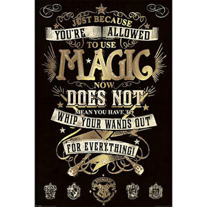 Harry-Potter-Allowed-To-Use-Magic-POSTER-61x91cm-NEW-Hogwarts-Wand-Spells