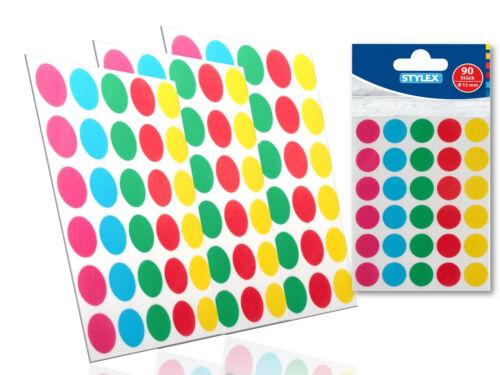 Markierungspunkte bunt 15 mm 3 Bl Klebepunkte Sticker Aufkleber Etiketten Sty