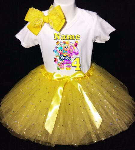 Shopkins *With NAME* 4th Fourth 4 Birthday Yellow Tutu Dress Fast Shipping