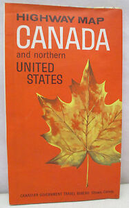 Details about Vintage Highways Of Canada and Northern United States East  West Map 1966