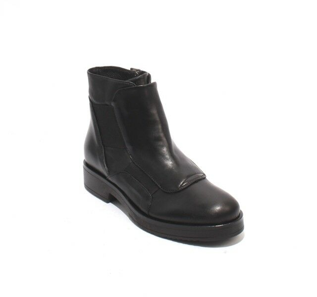 Mally 6310 Black Leather   Elastic Zip-Up Ankle Boots Boots Boots 36   US 6 1f5016