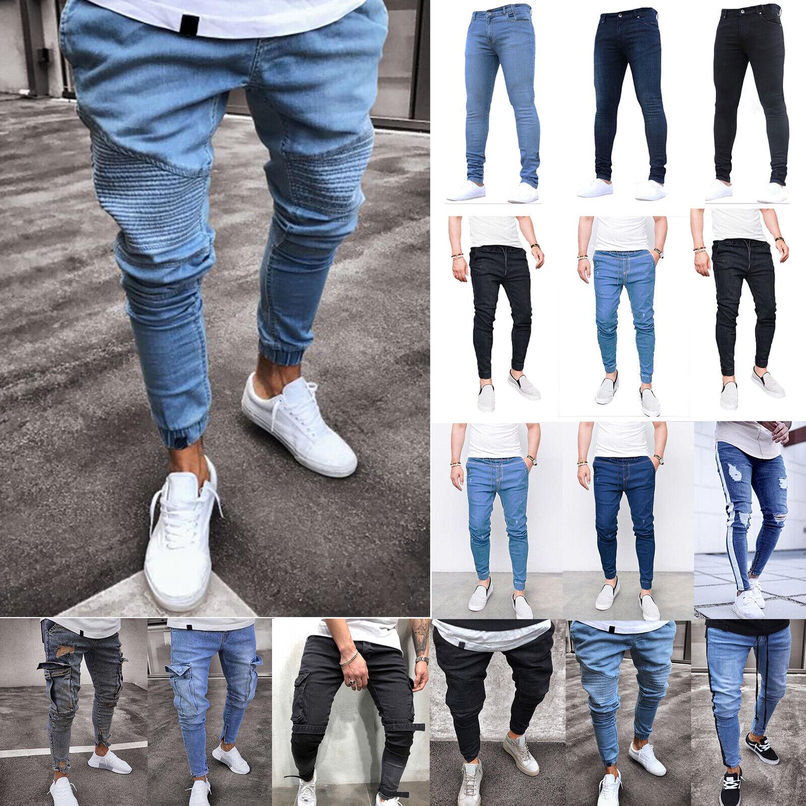 New Mens Super Slim Skinny Fit Designer Stretch Bottoms Joggers