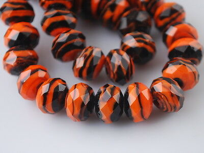 Nice Rondelle Faceted Glass Crystal Stripe Design Loose Beads Spacer Charms12mm