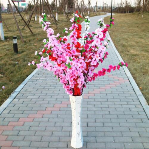 1Pc Peach Artificial Cherry Spring Plum Peach Blossom Branch Silk Flower Tr O8H9