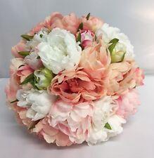 PEONIES VINTAGE BOUQUET BRIDE BROOCH WEDDING FLOWERS PINK PEACH WHITE ARTIFICIAL