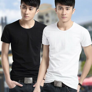 Summer-Men-039-s-V-O-Neck-T-shirt-Solid-Casual-Shirt-Short-Sleeve-Tops-Plus-Size-3XL