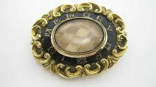 "Antique Victorian ""In Memory Of"" Black Enamel Mouring Brooch with Hair"