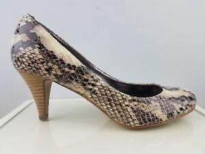 3fbf87afa3a Steve Madden Brown Snakeskin Leather High Heel Slip on Pumps Womens ...