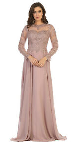 Details about ELEGANT MOTHER OF THE BRIDE LONG SLEEVE GOWN SPECIAL OCCASION  DRESS & PLUS SIZES