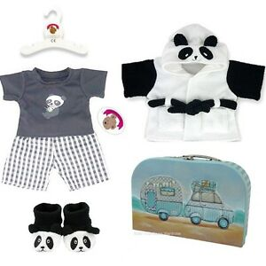 Teddy Bear Clothes fits Build a Bear Teddies PANDA PJs Robe Slippers Gift Set