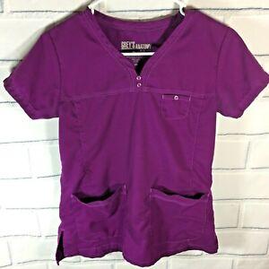 Grey-s-Anatomy-Scrub-Top-Shirt-Size-XS-Purple-Medical-Uniform-Nurse-S79