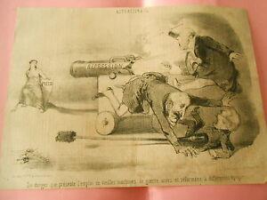 Litho-1850-Du-Danger-que-presente-l-039-emploi-de-vieilles-machines-de-guerre