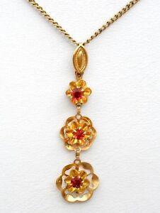 10k-Oro-Amarillo-con-Rubi-Flor-Collar-con-Colgante-Rojo-Clasico-Piedra-Preciosa